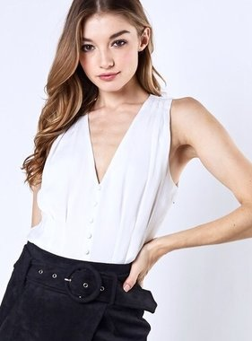 Sleeveless Fitted White Top