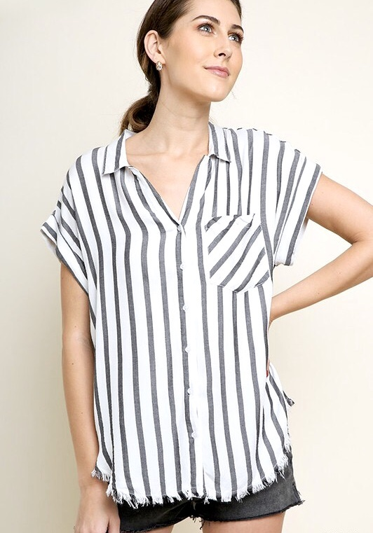 Charcoal and Off White Striped Button Up Top w/ Metallic Detail