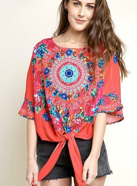 Hot Coral Medallion Print Front Tie Top