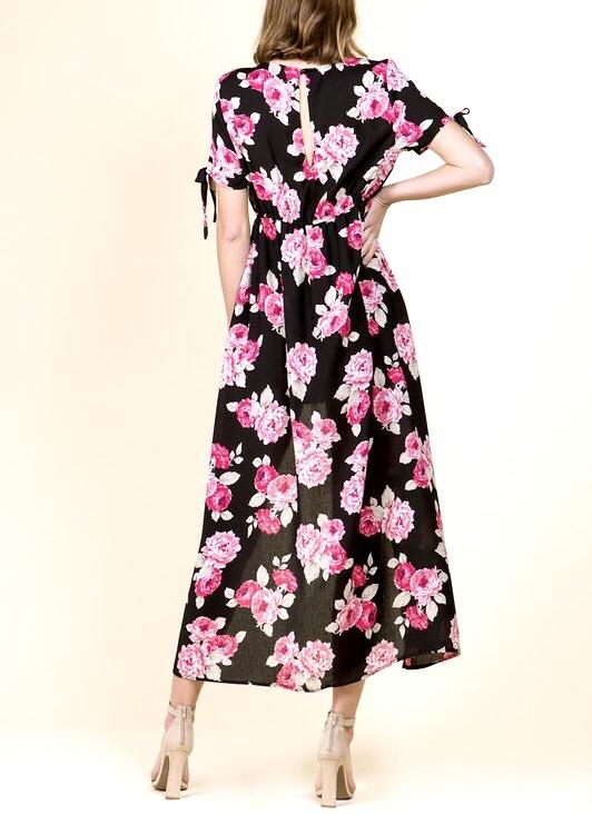 Black/Fuchsia Floral Maxi Romper