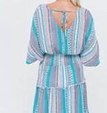 Teal Multi Ruffled V-Neck Dress