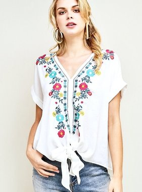 Off White Embroidered Front Tie Top