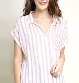 Faded Red Striped Button Up Top with Fringe Detail