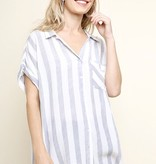 Faded Blue Striped Button Up Top with Fringe