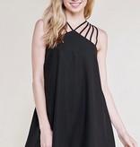 Caged Solid Dress Black