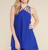 Caged Solid Dress Royal Blue