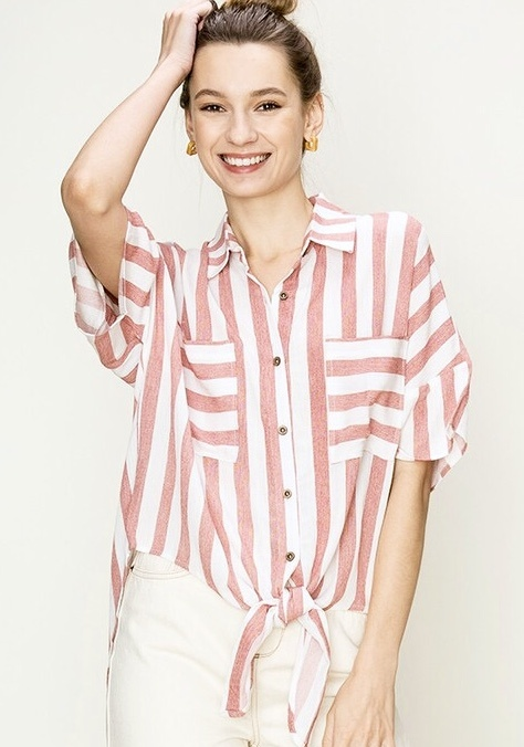 Red and White Striped Pocket Tie Front Top
