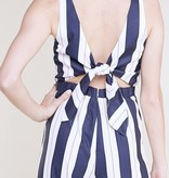 Navy/White and Orange Striped Button Front Jumpsuit