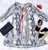 Grey Snake Skin Printed Tunic Dress