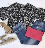 Leopard Top with Short Puffed Sleeve Black