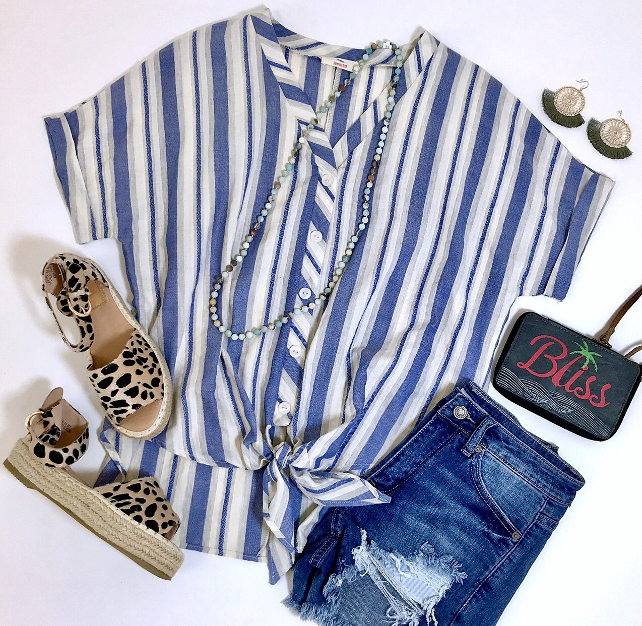 Lillie's Navy / Cream Striped Button Up Knot Top