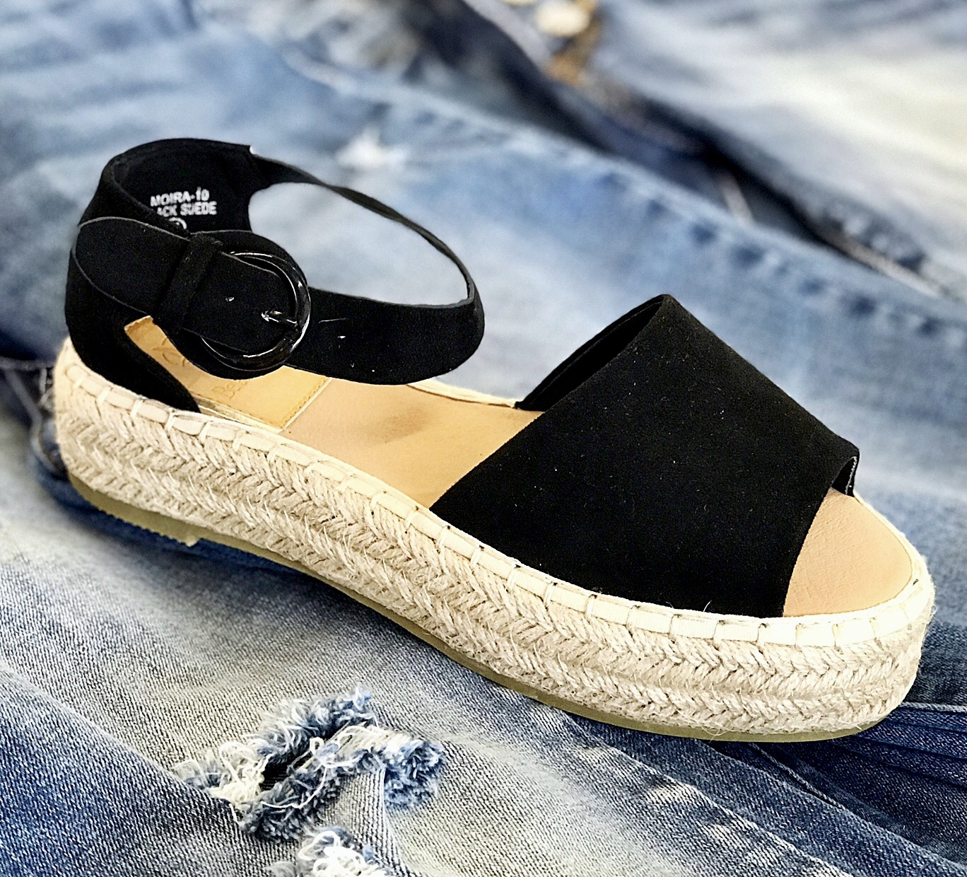 Raylee black Ankle Strap Platform