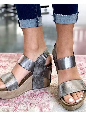 Pewter Metallic Wedges
