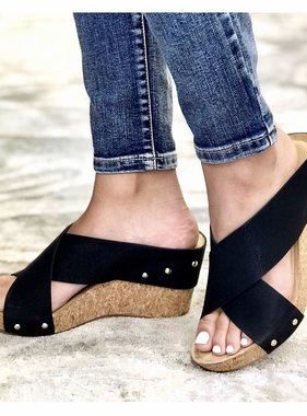 Kyle Black Criss Cross Wedge