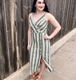 Olive Striped Midi Dress with Button
