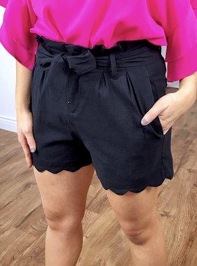 Black Spring Tied Waist Shorts
