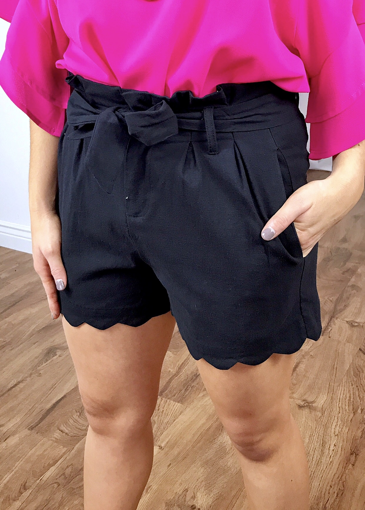 Black Spring Tied Waist Shorts