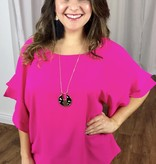Hot Pink Double Ruffle Bell Sleeve Top
