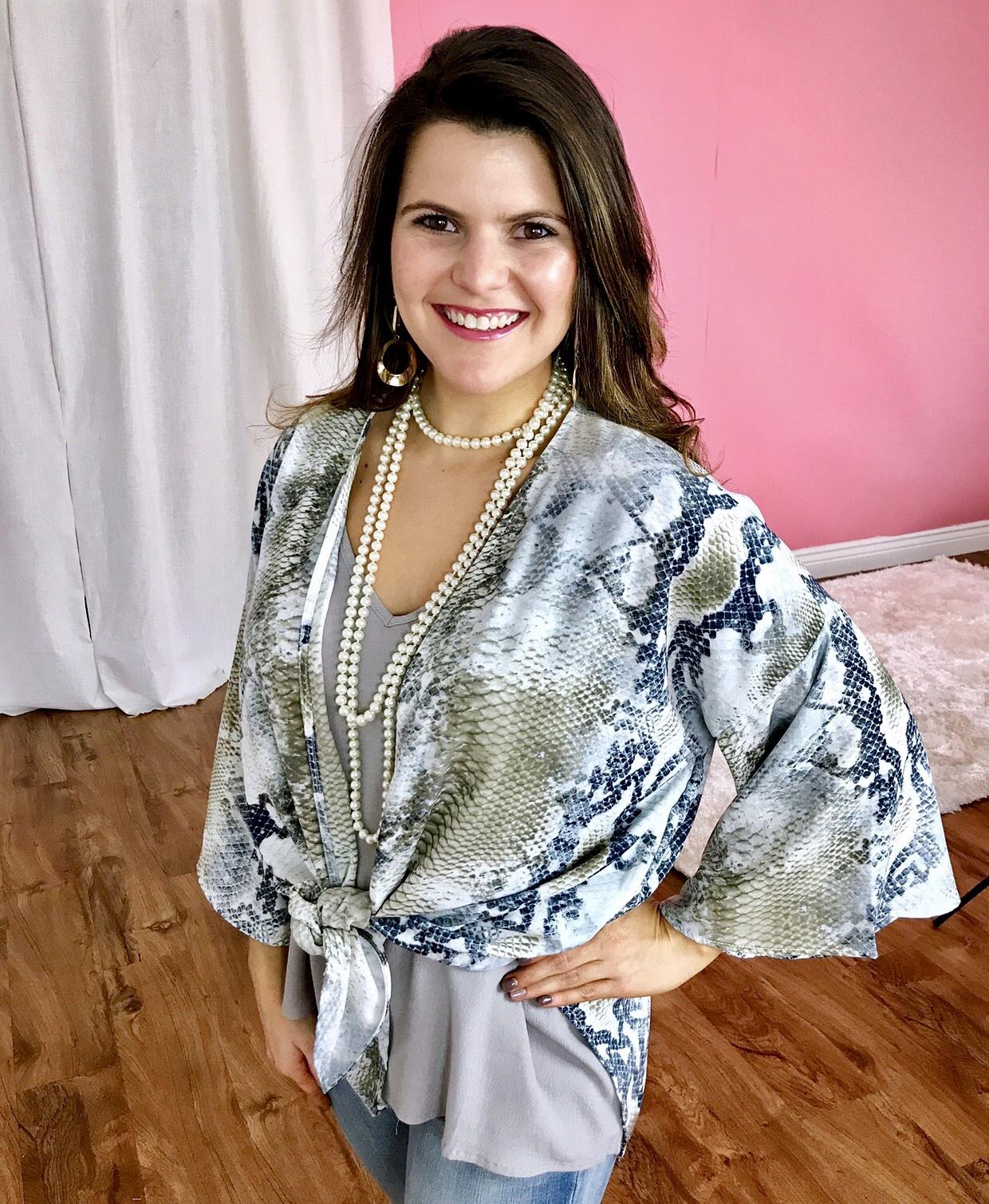 Tan/Grey Snake Skin Kimono