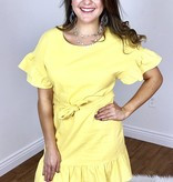 Yellow Side Tie Ruffle Dress