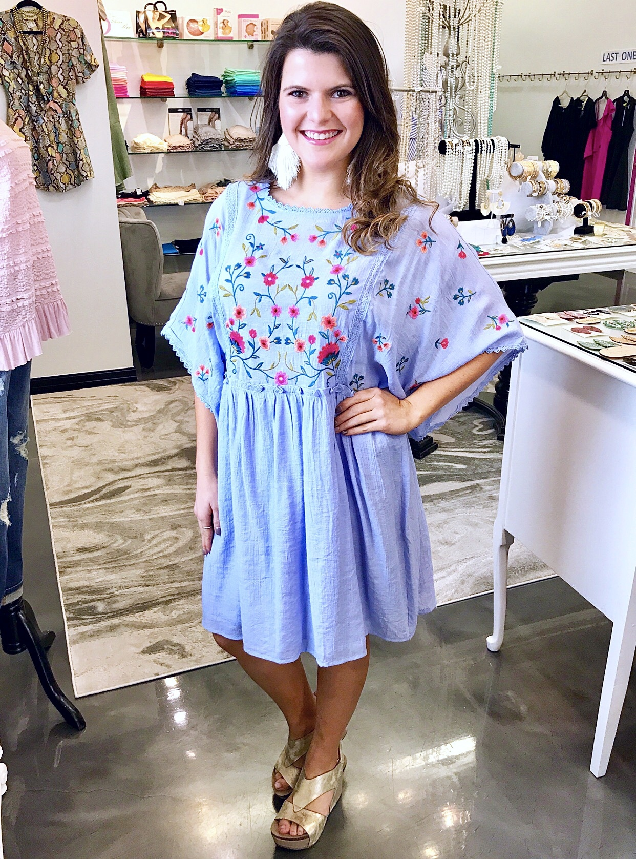Baby Blue Floral Embroidered Babydoll Dress with Crochet Trim