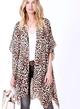 Brown Long Leopard Print Kimono