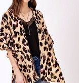 Brown Leopard Kimono With Bell Sleeves
