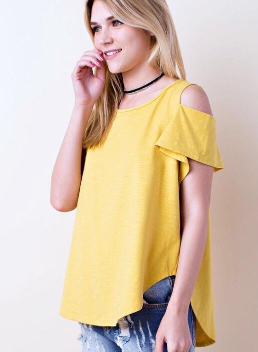 Mustard Short Sleeve Cold Shoulder Top
