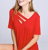 Red V-Neck Top with Neck Strap Detail