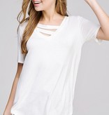 Off White V-Neck Top with Neck Strap Detail