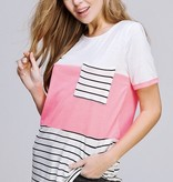 Neon Coral Striped Top