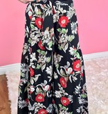 Black Floral High Waisted Ruffle Pants