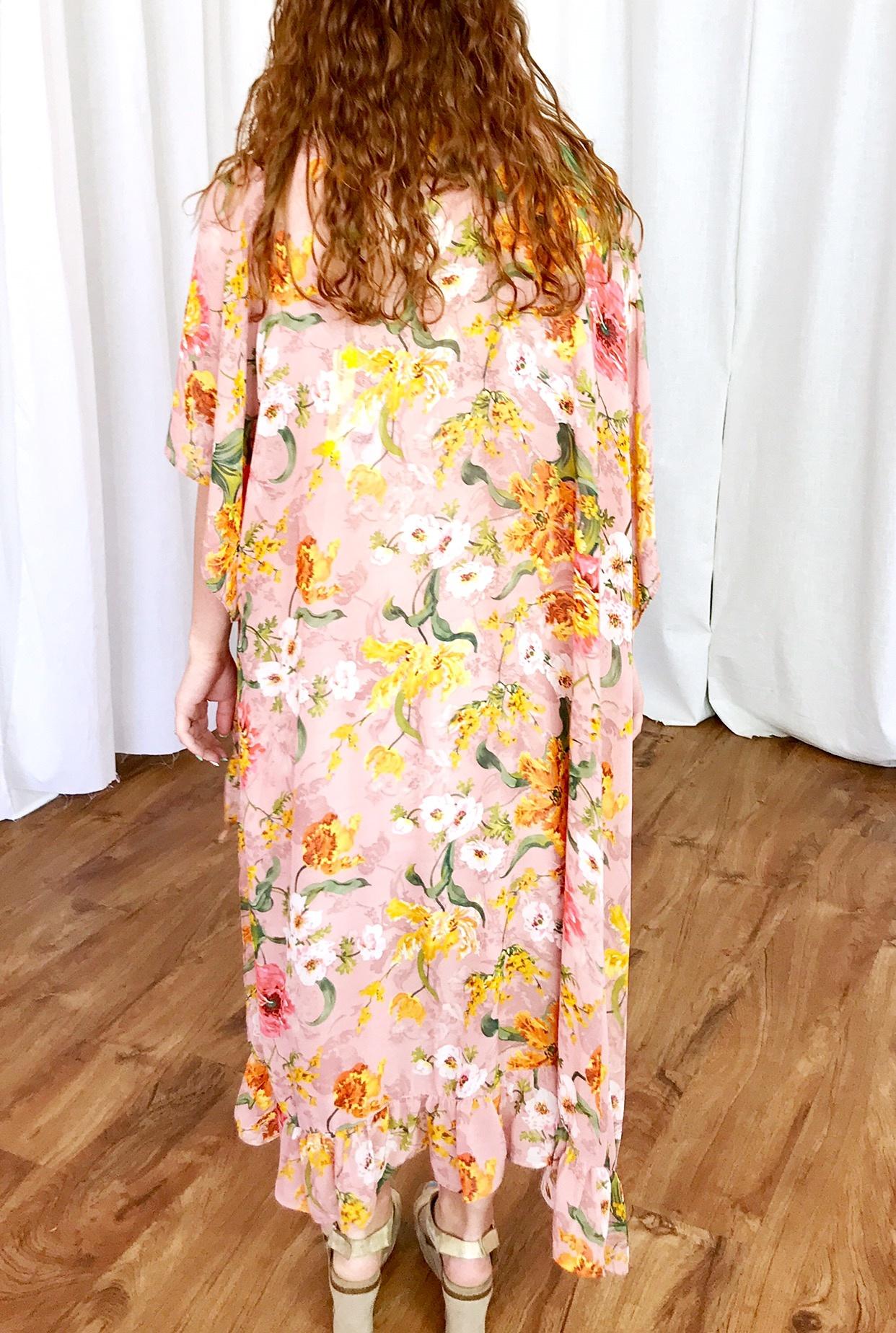Rose Mix Floral High Low Kimono