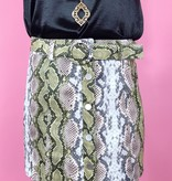 Snake Print Skirt with Belt