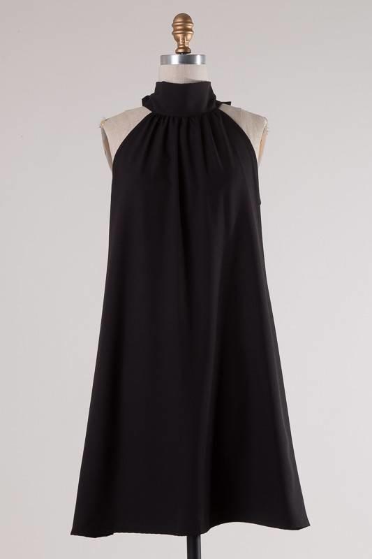 Lily Mock Neck Dress Black