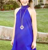 Lily Mock Neck Dress Royal Blue-SALE ITEM