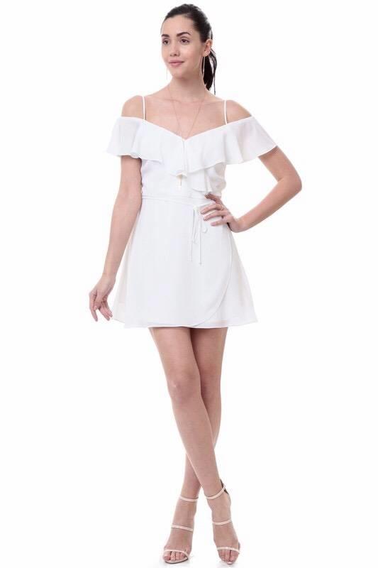 Kylie Wrap Dress Off White