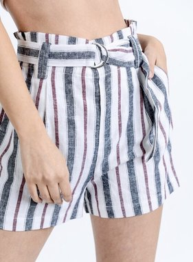 Black/Maroon Striped Tie Front Shorts