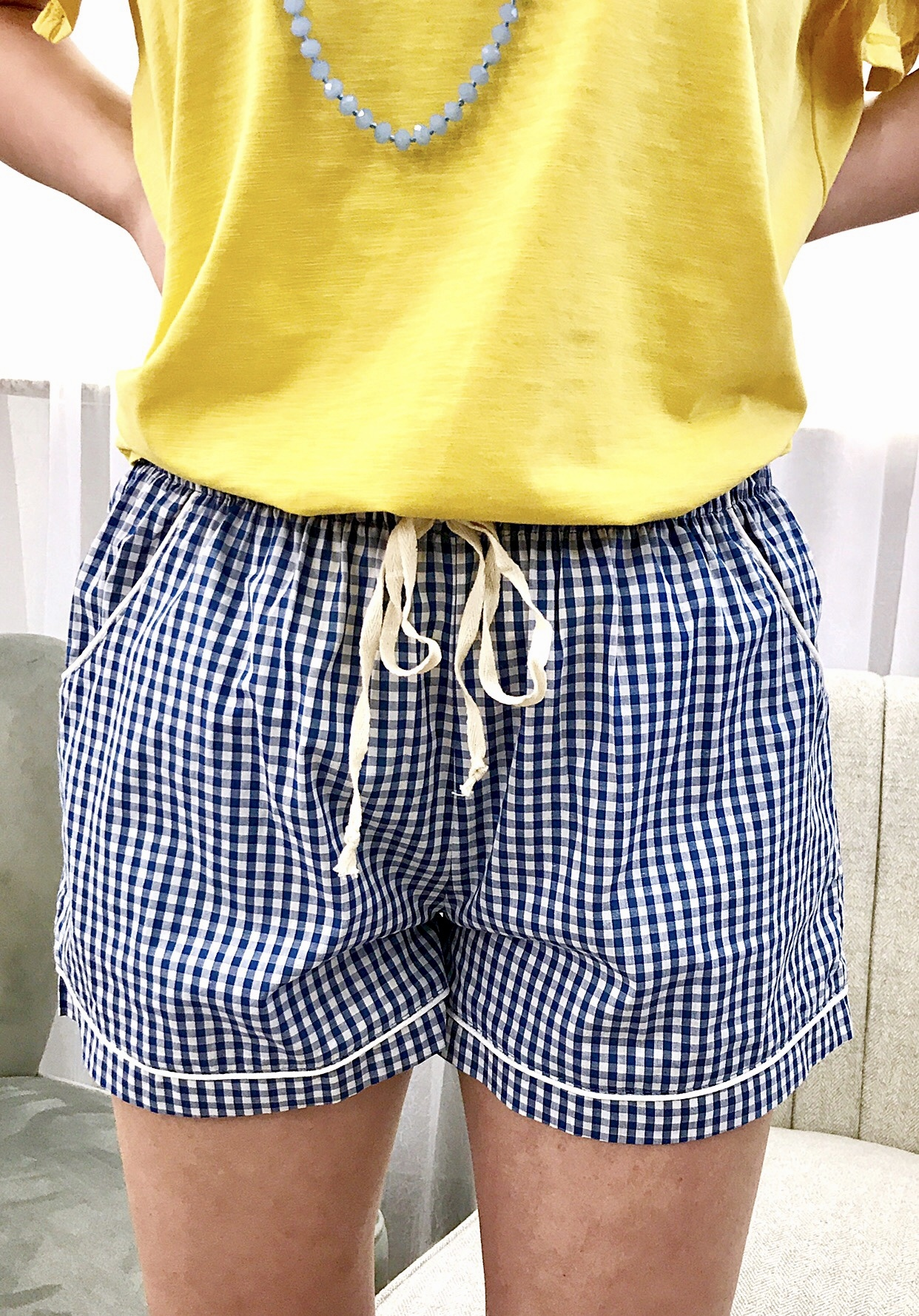 Blue Gingham Shorts
