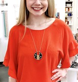 Carrot Orange Ruffle Bell Sleeve Top
