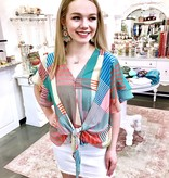Coral and Green Geometric Mixed Ruffle Sleeve Top