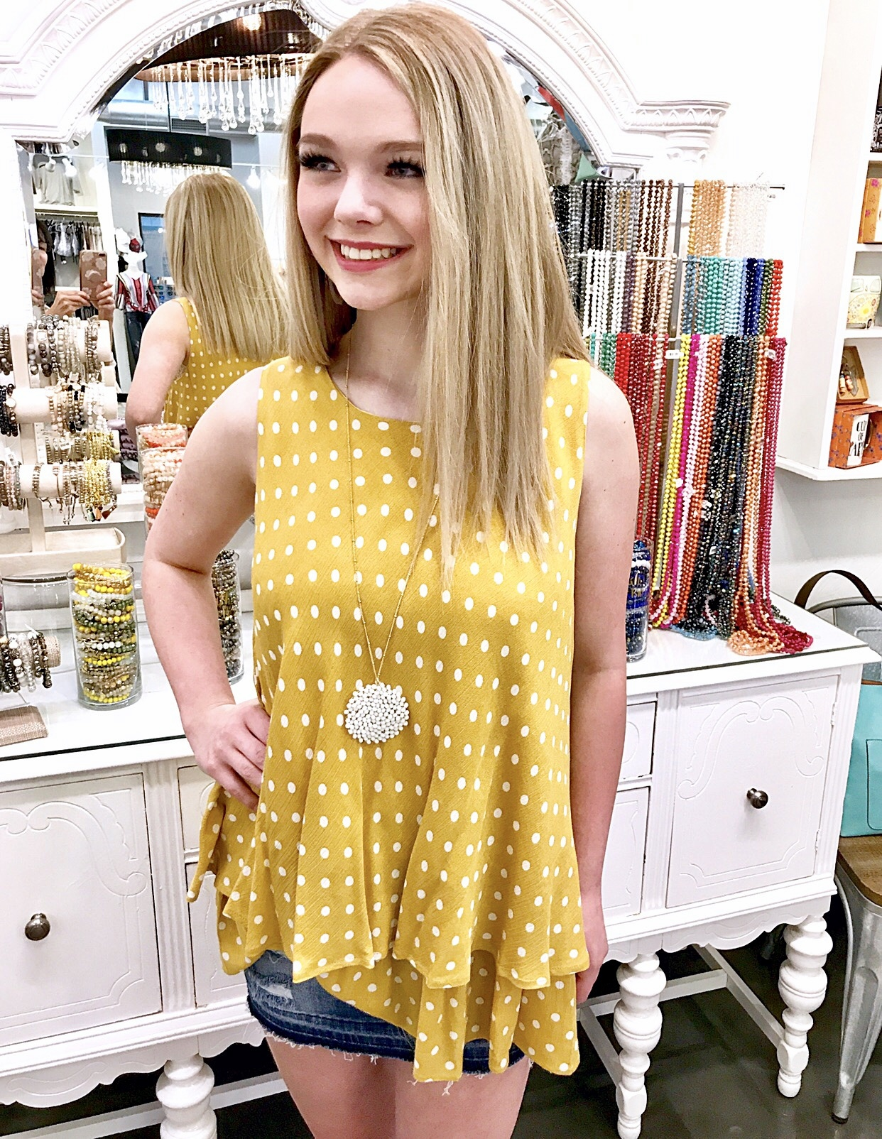 Mustard Dot Sleeveless Tunic Top