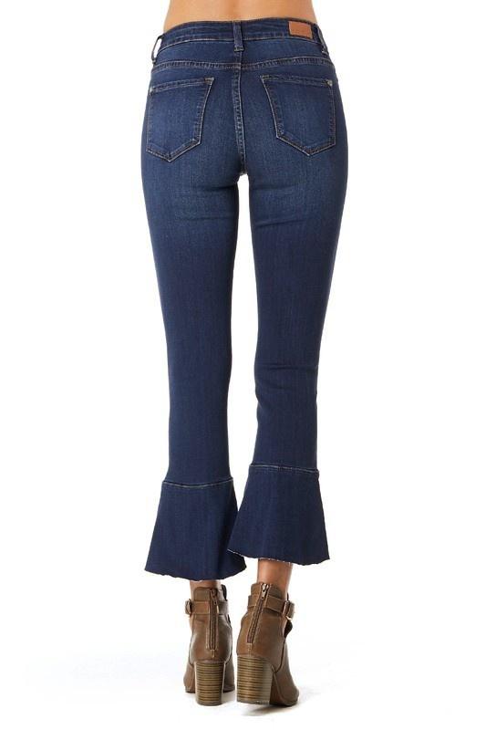 Judy Blue Dark Wash Ruffle Flare Crop Pant