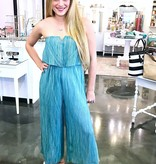 Faded Teal Strapless Jumpsuit