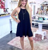 Black Spaghetti Strap Dress with Flounce Wrap Hem