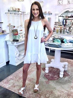 Off White Spaghetti Strap Dress with Flounce Wrap Hem