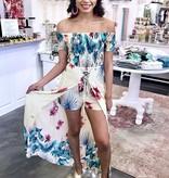 Beige Floral Lace Up Maxi Romper