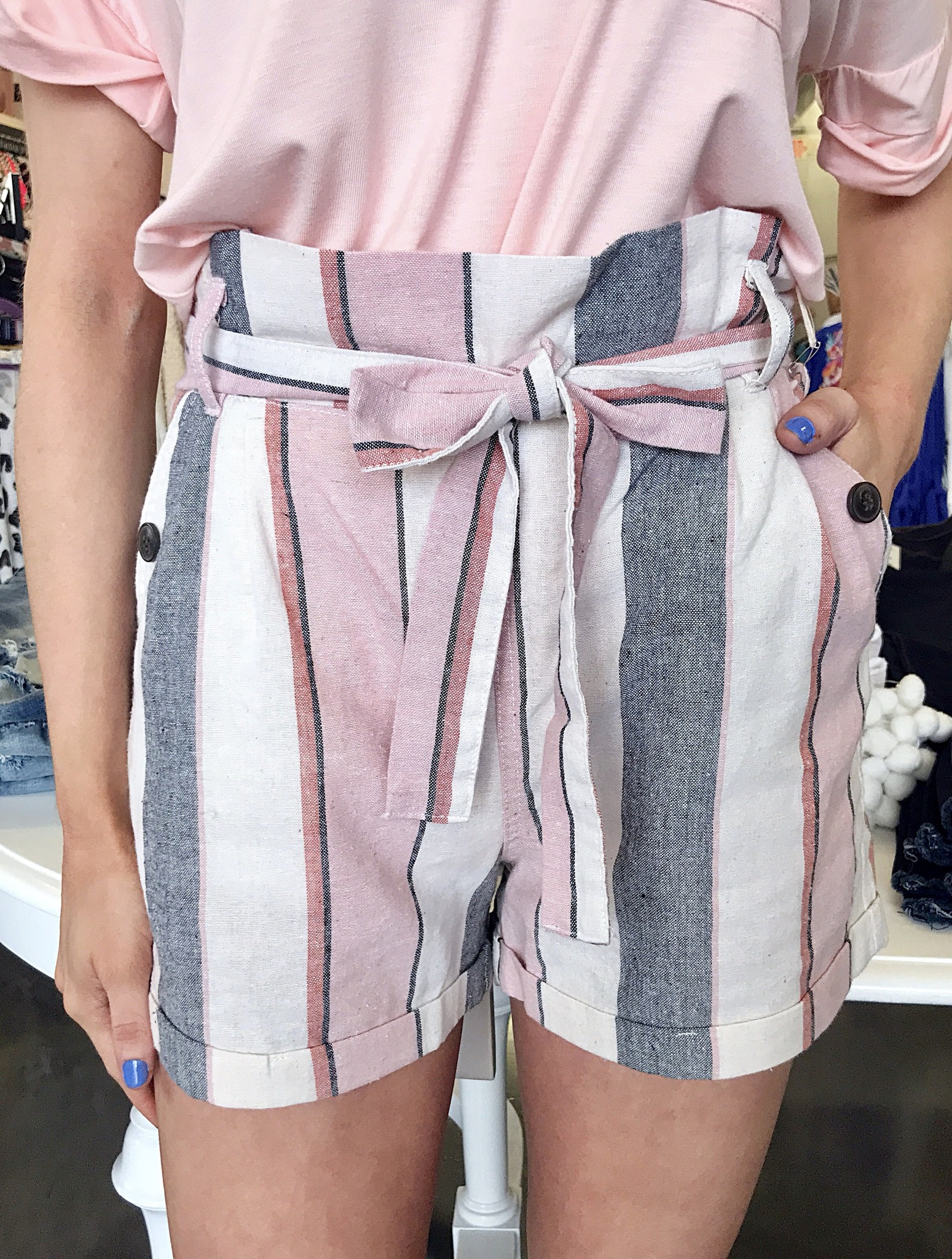 Paris Linen Ribbon Tie Shorts