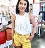 Mustard Spring Tied Waist Shorts