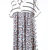 Ivory Striped Top with Mint Leopard Back